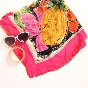 Vintage Vera Pineapple Print 100% Silk Pink Scarf